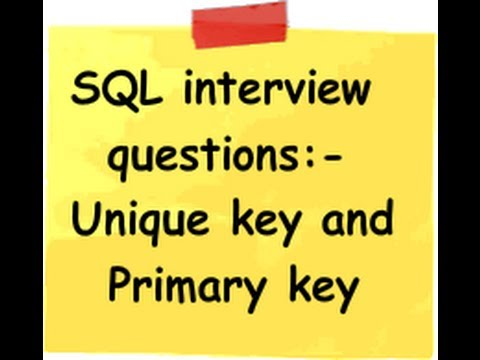 c# (Csharp) and SQL interview question :- What is the difference between unique key and primary key?