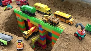 Bridge Construction Trucks for Kids - Excavator, Bulldozer, Dump Truck Toy Video for Children