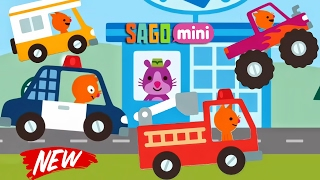 Sago Mini Road Trip - NEW CARS : Police Car, Fire Truck, Bus, Monster Truck | Car Factory & CAR WASH