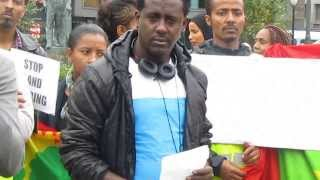 Oromo youth in Norway, protested in front of Norwegian Parliament on 14 Sep 13