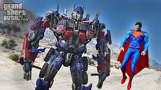 SUPERMAN VS OPTIMUS PRIME  - GTA 5 TRANSFORMERS MOD !!!