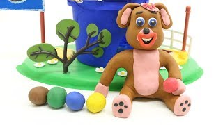 Baby Dog Learn Colors w/ Smashing Colorful play Doh Balls - Kids Stop Motion Movie
