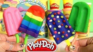 Play Doh Popsicles Scoops 'n Treats DIY Ice Cream Ultimate Rainbow Popsicle Paleta Ghiacciolo
