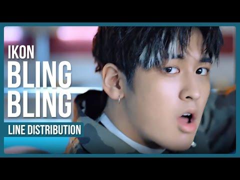 iKON - BLING BLING (블링블링) Line Distribution (Color Coded)