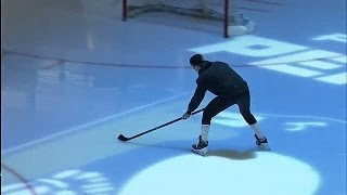 Marc-Andre Fleury shows off his stick skills