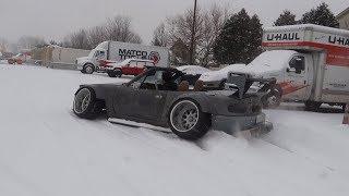 Idiot Drifts Insane Miata In Snow!?