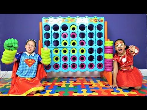 Superhero Kids Supergirl vs Iron Girl Giant Connect 4 Toy Challenge Shopkins Num Noms Gross Toys