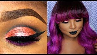 Foiled peach cut crease /matte black lips Make Up tutorial - Queenii Rozenblad