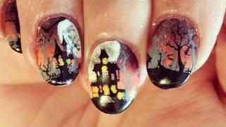 nail art stamping halloween cimetière et manoir hanté (plaque delaney halloween 006)