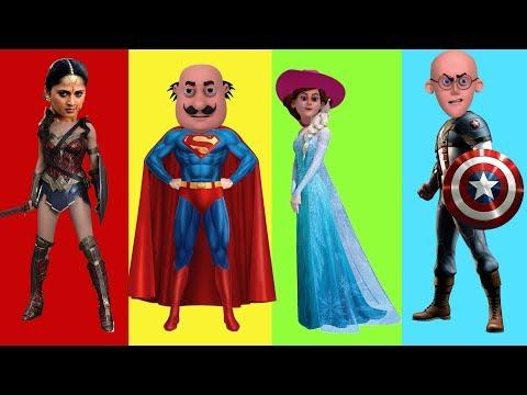 MOTU PATLU Wrong Heads with Spiderman Bahubali in Hindi Superman Elsa Wonder Woman Captain America