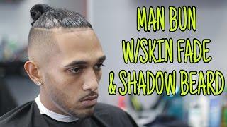Man Bun With Bald/Skin Fade And Shadow Beard   HAIRCUT TUTORIAL   Step By Step How To
