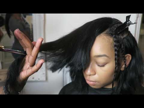 How to install a DEEP SIDE PART BOB SEW IN GRADUATED CUT FULL SEW IN mizmakeme