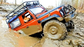 RC Trucks MUD OFF Road Rescue and Stuck — RC Jeep Wrangler Rubicon VS Land Rover Defender 90 Part3