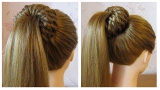 Tuto coiffure simple: queue de cheval et chignon bun tressé 💥 facile à faire soi même