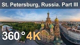360°, Church of the Savior on Blood, Saint Petersburg, Russia. 4K aerial video