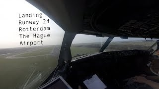 Gusty winds during landing runway 24 at Rotterdam The Hague Airport with autobrakes MAX (RTM EHRD).