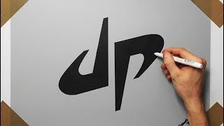 How To Draw DP Dude Perfect Logo On Grey Paper | Fan Art