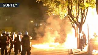 Molotov cocktails & flash bang grenades: Clashes erupt in Greece during Antifa protest