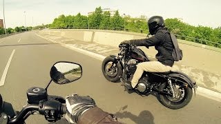 Harley Davidson Iron 883 vs Forty Eight 1200 - Acceleration  [1080p]