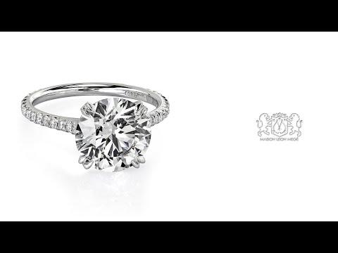 r5919 3 carat Ideal cut XXX diamond in a micro pave ring by Leon Megé