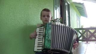Criança tocando acordeon