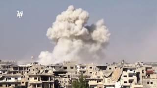"""صواريخ """"الفيل"""" تنهمر بعنف على حي طريق السد ومخيم درعا 15-6-2017"""