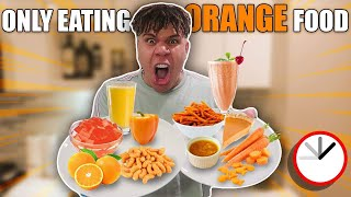 I Only Ate ORANGE FOOD for 24 HOURS challenge!! **IMPOSSIBLE**
