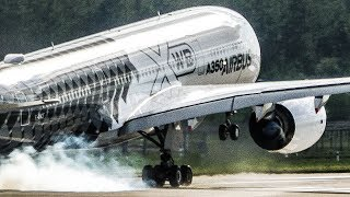 AIRBUS A350 near VERTICAL TAKEOFF and great VISUAL APPROACH - ILA 2018 Airshow (4K)