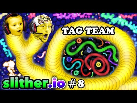 SLITHER.io #8: EAT MY DOTS QUICK! Father & Son Tag Team (FGTEEV Duddy & Chase Multiplayer Server)