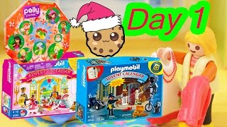 Polly Pocket, Playmobil Holiday Christmas Advent Calendar Day 1 Toy Surprise Opening