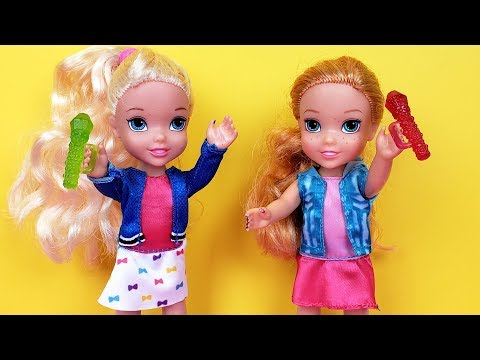 SINGING competition Elsa and Anna toddlers Barbie is judge contest