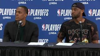 Rajon Rondo and Ian Clark Postgame Interview   Warriors vs Pelicans Game 3