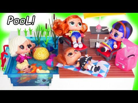 Surprise Dolls Pool Party with LOL Baby Born Squishy Barbie Found Toy Video