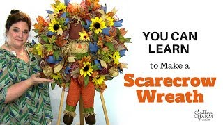 Wreath Making of the Month Club - August 2017 Learn to Make a Deco Mesh Scarecrow Wreath