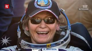 Record-breaking US astronaut Peggy Whitson and her crew back on Earth