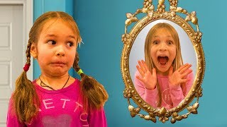 Amelia, Avelina and Akim use a magic mirror to indoor playground. Super fun adventure!