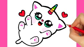 HOW TO DRAW CAT   DRAWING COLORING CAT UNICORN   DRAW CUTE UNICORN, COLORING UNICORN