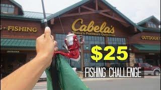 $25 Cabelas Fishing Challenge!! (Surprising!)