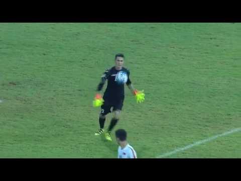 Uzbekistan goalkeeper Jasurbek Umrzakov scores from his own half in AFC U 16 Championship 2016