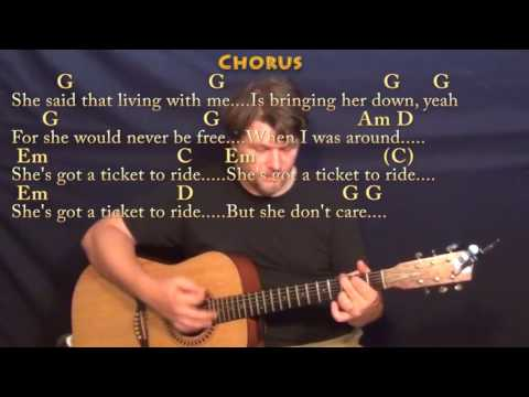 Ticket to Ride (The Beatles) Strum Guitar Cover Lesson in G with ChordsLyrics