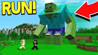 IMPOSSIBLE GIANT MINECRAFT ZOMBIE ESCAPE!