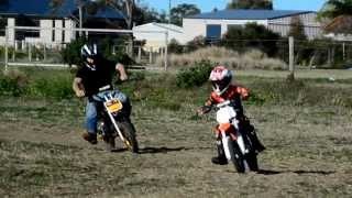 5 year old racing his Dad on his KTM SX 50