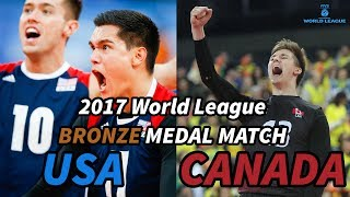 USA vs. CANADA - 2017 World League BRONZE MEDAL MATCH - ALL BREAKS REMOVED