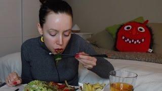 ASMR Whisper Eating Sounds | Pomes Frites, Baked Celeriac, Wok & Guacamole Salad