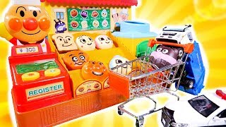 はたらくくるま パン屋さんでお買い物をするよ♪  アンパンマン ごみ収集車 パトカー カーキャリアー ごっこ遊び おもちゃ アニメ 幼児 子供向け動画 TOMICA TOY KIDS
