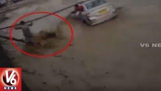 2 People Rescued After Car Gets Swept Away In Flood | Dehradun | V6 News