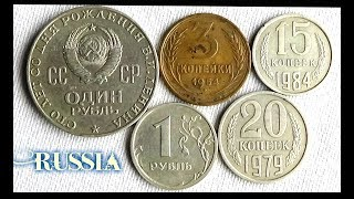Coin collection | Russia | 5 Coins ( Kopecks & Ruble ) from 1954