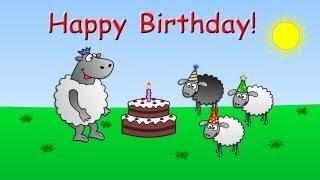 Happy Birthday - funny animated sheep cartoon (Happy Birthday song with cake !!)