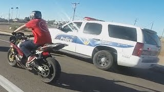 STREET BIKE VS POLICE Chase Motorcycle Stunts Riding Wheelies While Chased By Cops 2016