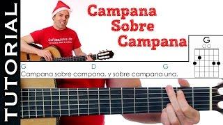 Como tocar villancico Campana sobre campana / Campanas de Belén en guitarra MUY Fácil! acordes